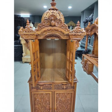 Wooden Mandir with Door Open