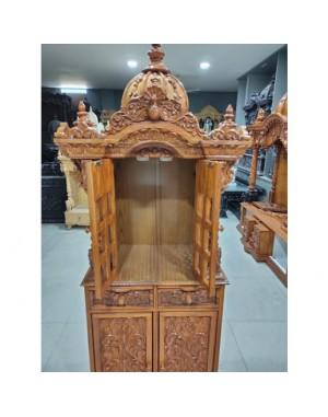 Wooden Mandir with Door Open