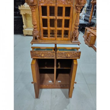 Wooden Temple with Drawers and Cabinet