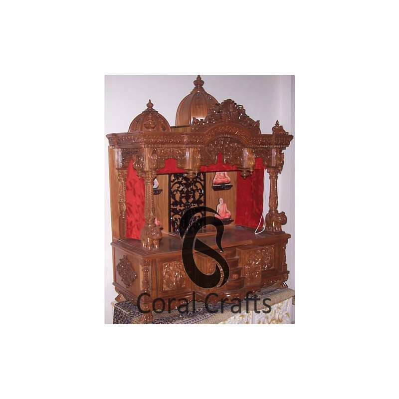 Teak Wood Temple with Curtains