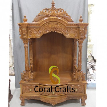 Teak Wood Temple For Home Coral Crafts