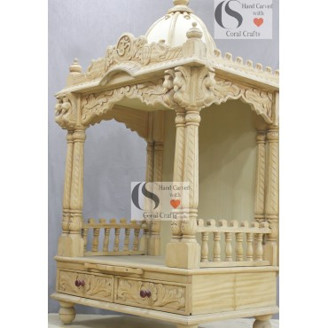 Wood Mandir with Double Pillars
